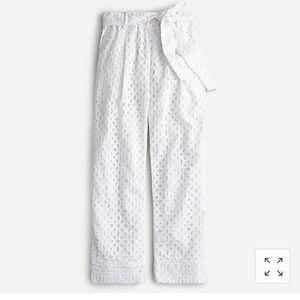 NWT Jcrew white high rise tie eyelet pants 00